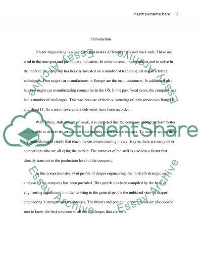 Draper Engineering Paper essay example