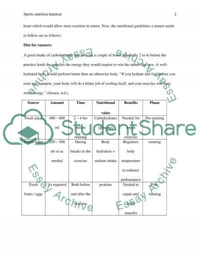 Nutrition handout essay example