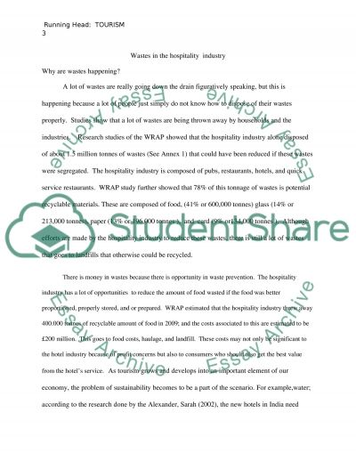 Wastes in the hospitality industry essay example