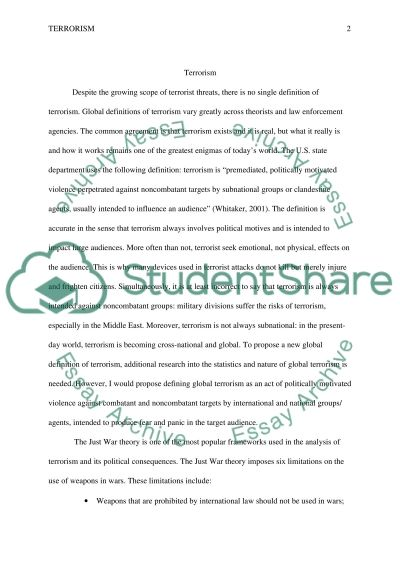Essays On Marketing Terrorism Read Textpreview Good Topics For Compare And Contrast Essay also Violence Against Women Essay Terrorism Essay Example  Topics And Well Written Essays   Words An Essay On Hope