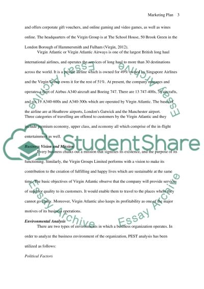 Marking Plan for Virgin Group Ltd essay example