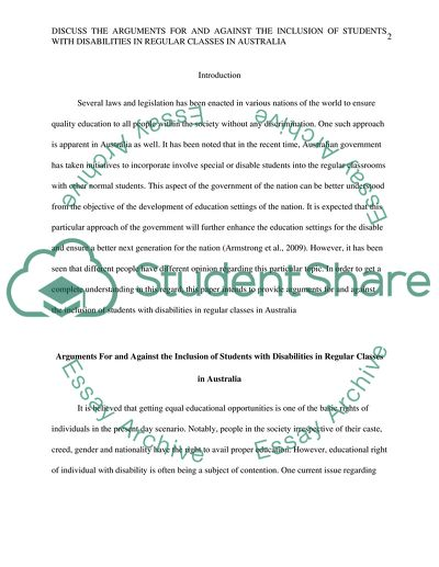 Essay question: Discuss the arguments for and against the inclusion of students with disabilities in regular classes in Australia. (2000 words) How do the Disability Standards for Education (2005) influence schools inclusive practices (500 words)