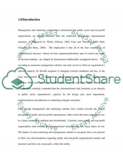 Marketing for nonprofit organisation essay example