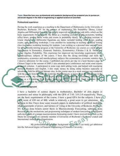 Professional and academic background essay example