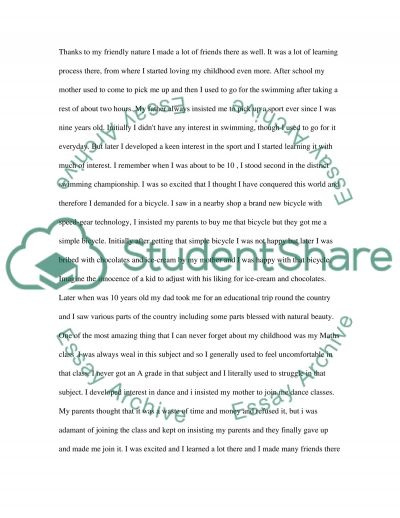 Experiance of Childhood essay example