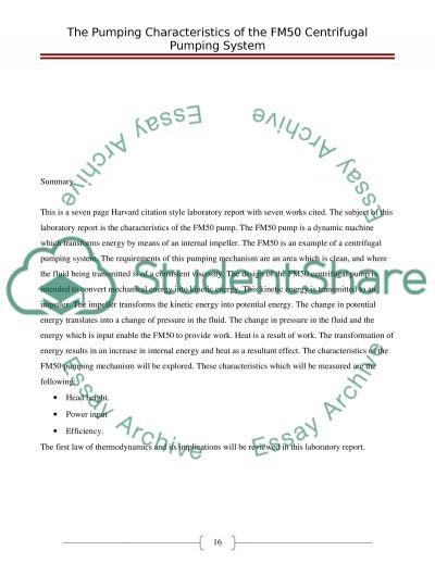 Pump Characteristics Paper essay example