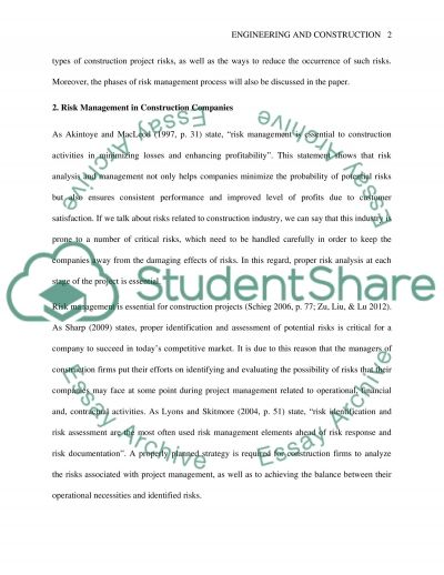 Critical approach in project risk management essay example