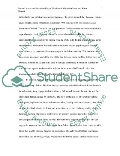 My Future Leisure and Sustainability of Northern California Ocean and River essay example