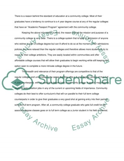 Community College Perception Paper essay example