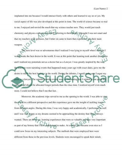 Reflection of learning experiences in elmentary ,middle ,high school, and college attended essay example