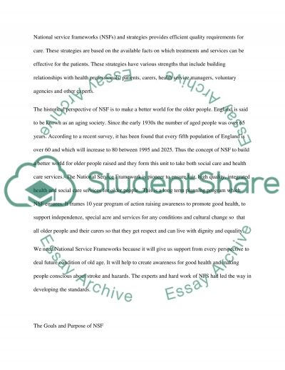 National Service Framework - Standard 5 The role of the nurse essay example