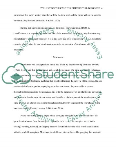 evaluating the case for differential diagnosis between anxiety essay  anxiety disorders and attachment essay example text preview
