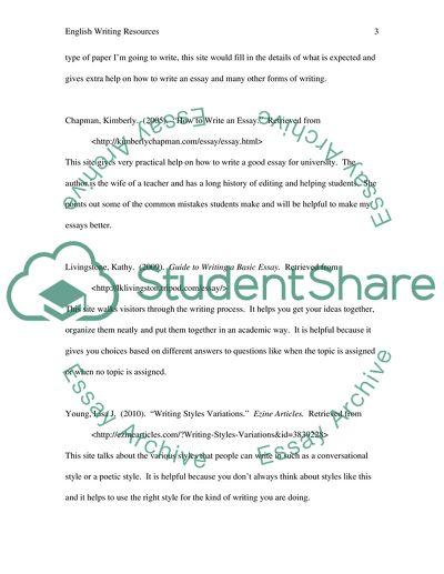 Resources regarding English 1 writing