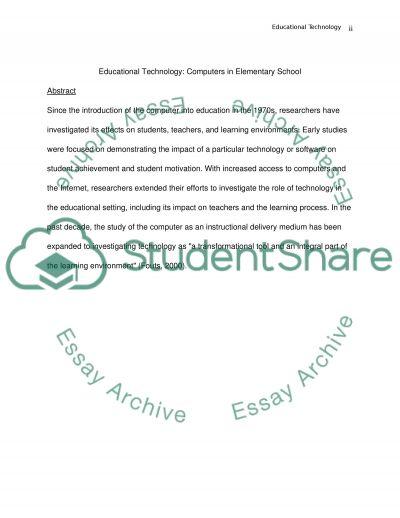 Computer in Elementary School essay example