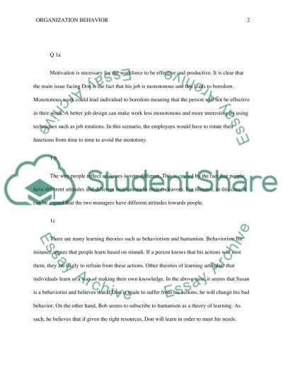 Organization behavior essay example
