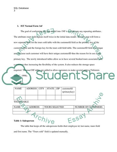 SQL database paper