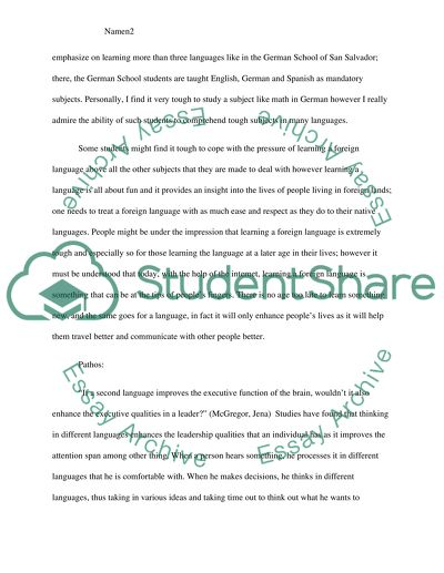 English Language Essay Topics  Thesis For A Narrative Essay also Thesis Persuasive Essay Why Students Should Learn A Foreign Language Essay Best English Essay