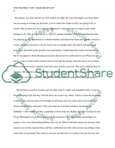 The Mustang That i have never got. Essay example