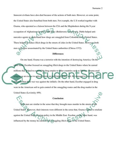 Essay On English Teacher Comparing And Contrasting Osama Bin Laden And Pablo Escobar High School Scholarship Essay Examples also Controversial Essay Topics For Research Paper Comparing And Contrasting Osama Bin Laden And Pablo Escobar Essay Apa Essay Paper
