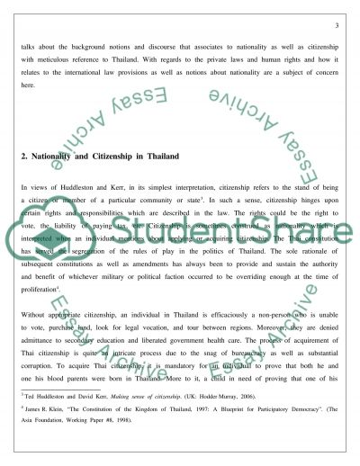 Citizenship in Thailand essay example