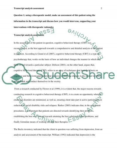 Therapeutic approaches essay example
