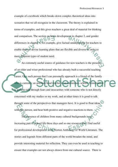 Education: Professional Resources essay example