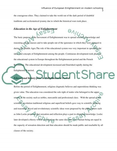 Influence of European Enlightenment on modern schooling essay example