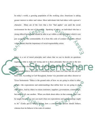 Ethics principles essay example