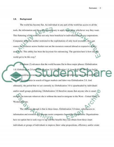 Outsourcing Essay example