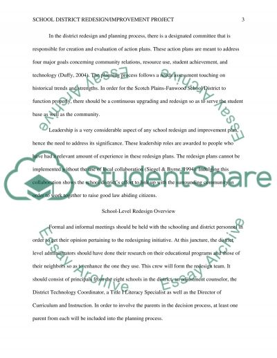 School District Redesign / Improvement Project essay example