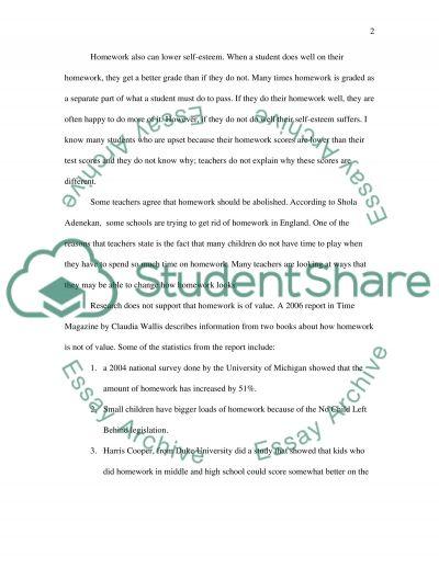 Homework Debate essay example