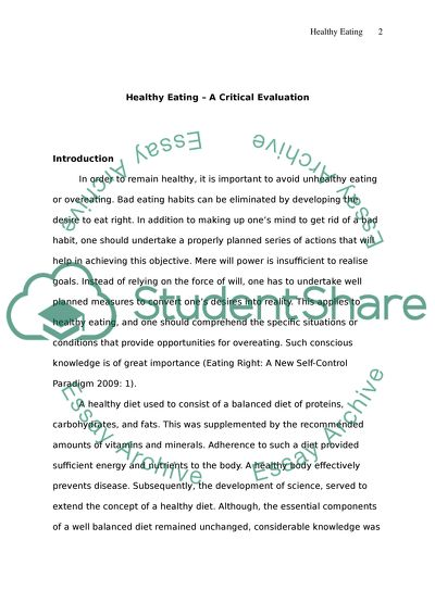 English Essays Samples Healthy Eating Read Textpreview How To Write A Proposal Essay Outline also Essay On Health Awareness Healthy Eating Essay Example  Topics And Well Written Essays    Argument Essay Thesis Statement