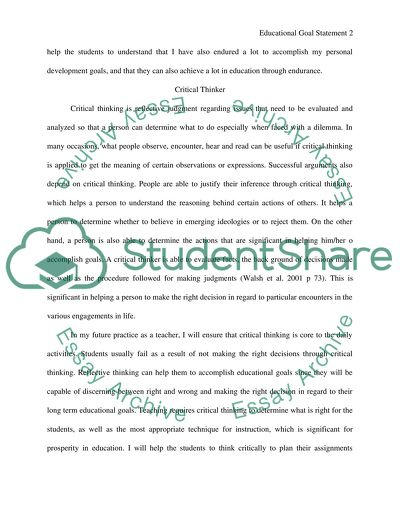 Educational Goal Statement essay example