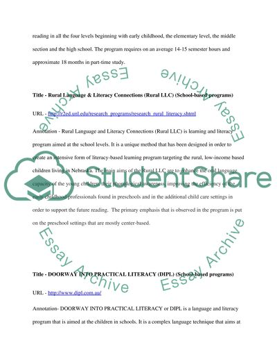 Compilation of Online Resources on Language and Literacy Programs