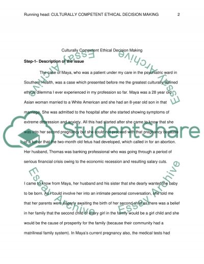 Culturally Competent Ethical Decision Making Essay example