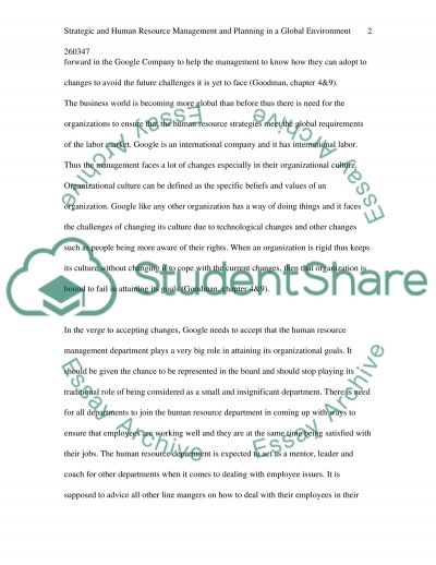 Strategic and Human Resource Management and Planning in a Global Environment essay example