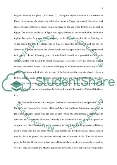 The Muslim brotherhood Essay Example | Topics and Well Written Essays