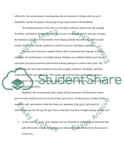 The strength fitness class essay example