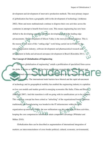 Impact of Globalization on engenireeng industry essay example