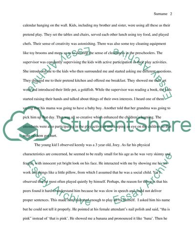 Essay Writing For High School Students A Preschool Observation High School Essays also Analytical Essay Thesis Example A Preschool Observation Essay Example  Topics And Well Written  Example Essay Thesis Statement