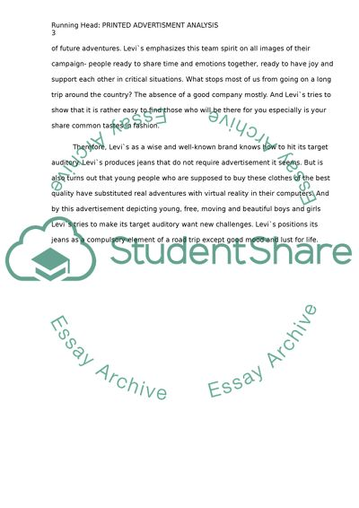 print ad analysis essay example  topics and well written essays  extract of sample print ad analysis