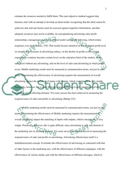 Mobile Marketing/Marketing Through Cell Phones essay example