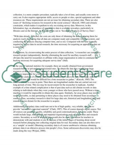 Secondary Quantitative Data essay example