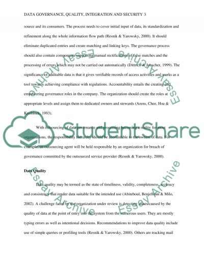 Data Governance, Quality, Integration, and Security essay example