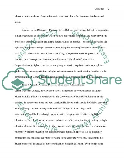 Corporatization in higher education: Negative effects of corporatization in colleges and universities essay example