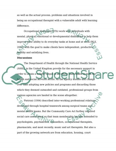 The Interprofessional Working Environment with Vulnerable Adult with Learning Disabilities essay example