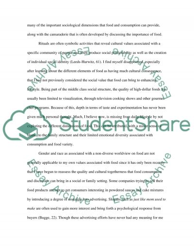 Recollection of the Routine of Food essay example