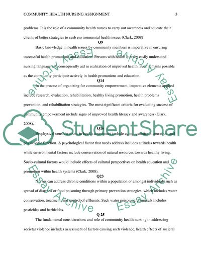 Community Health Nursing assignment #2