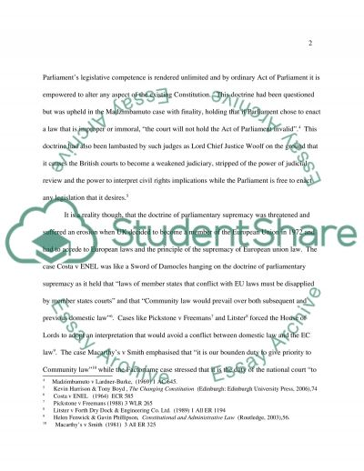 Parliamentary Supremacy essay example