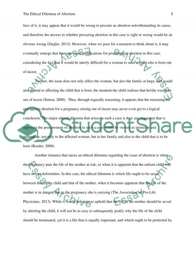 The Ethical Dilemma of Abortion Essay example